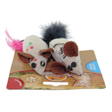 Мышка тканевая с кошачьей мятой и пером (2 шт.)