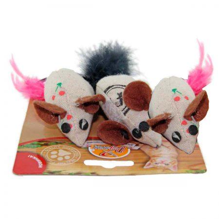 Мышка тканевая с кошачьей мятой и пером (3 шт.)